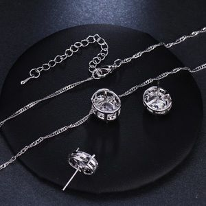 Fashion Jewelry Jewelry - New  silver CZ necklace & stud earrings set ..